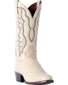 3889315506e Dan Post Men's White Pershing Full Quill Ostrich Boots - Medium Toe ...