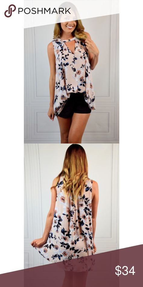 f177d630237b Sleeveless Choker Floral Top Sleeveless long loose fit flared print top  with button Choker. I m wearing a small in pic. Tops Tank Tops