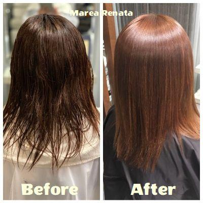 傷みの少ない縮毛矯正と同時にカラー 美髪 ヘアスタイリング 縮毛