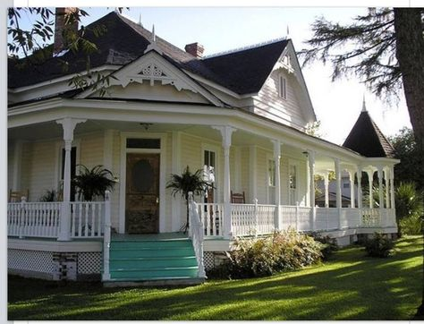 When I get a house I want a wrap around porch that goes all the way around the house like this one. Love this.