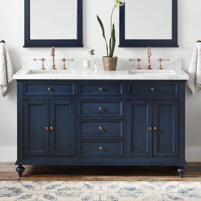 Signature Hardware Keller 61 Double Bathroom Vanity Set Wayfair In 2020 Blue Bathroom Vanity Double Vanity Bathroom Single Bathroom Vanity