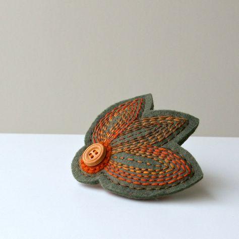 Woodland Hand Embroidered Wool Felt French Barrette by LoftFullOfGoodies, $10.00
