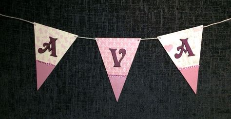 wooden bunting. shabby chic kids room. www.facebook