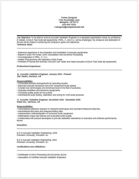 Acoustic Validation Engineer Resume resume sample Pinterest - audio engineer resume