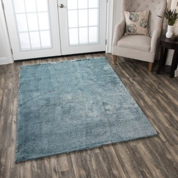Carey Blue Polyester Shag Area Rug 7x10 Favoritearearugs Solid Area Rugs Rizzy Home Area Rugs