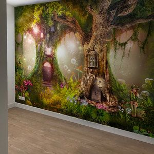Wallpaper Self Adhesive Vinyl Magical Forest Nurserymagic Etsy Forest Wall Mural Forest Mural Wall Murals