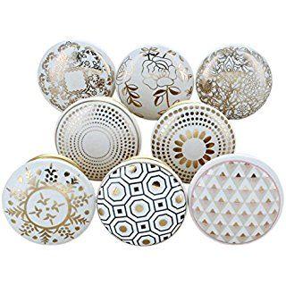 Gold White Ceramic Cabinet Dresser Cupboard Door Knobs Pulls Decorative Shabby C