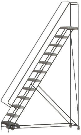 Tri Arc Wlar112245 12 Step All Welded Aluminum Rolling Industrial Warehouse Ladder With Handrail Grip Strut Tread 24 Inch Wide Steps For Sale Handrail Industrial Warehouse Ladder