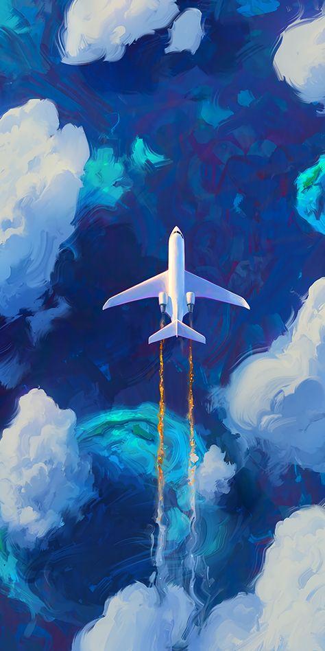 Aircraft, artwork, sky, clouds, 1440x2880 wallpaper
