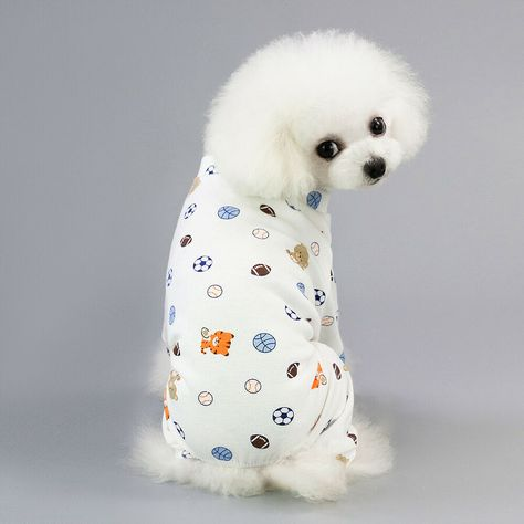 Casual Cotton Dog Pajamas Coat Puppy Cats Jumpsuit Coat With Football Pattern Ad Sponsored Pajamas Coat Dog Dog Pajamas Cozy Dog Cat Jumpsuit