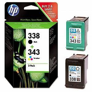 Hp 338 343 Multi Pack 1x Black 1x Tri Colour Original Ink