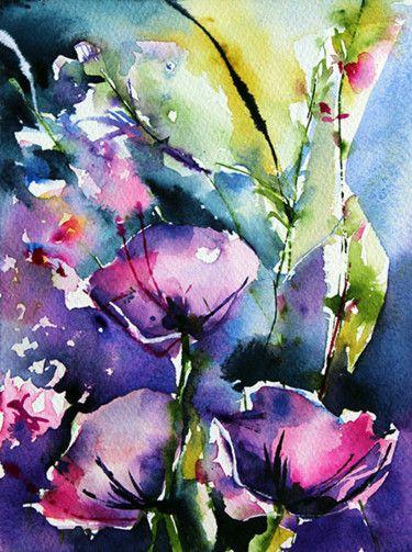 Crepuscule Art Abstrait Aquarelle Peinture Fleurs Et Aquarelle