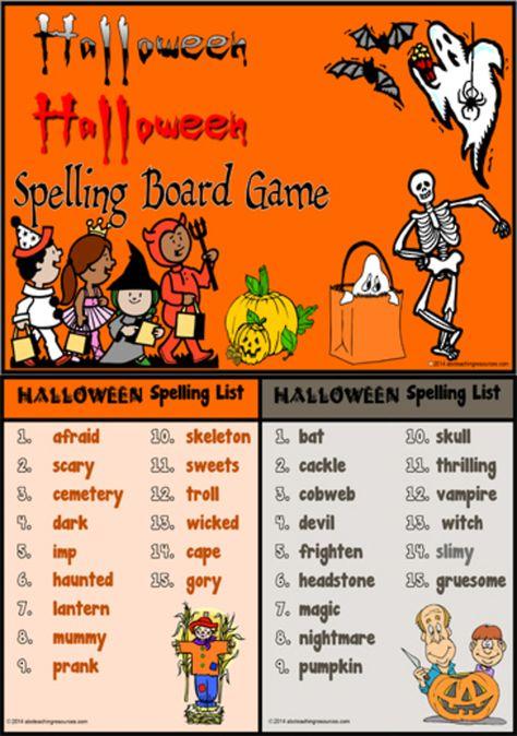 Halloween Spooky Sounds Word List Card A u0027Spooky Sounds - action words list