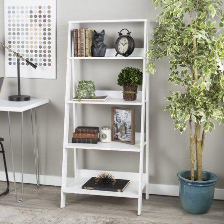 Manor Park 4 Shelf Wood Leaning Ladder Bookshelf White Walmart Com Ladder Bookshelf Ladder Shelf Decor Bookshelves In Bedroom