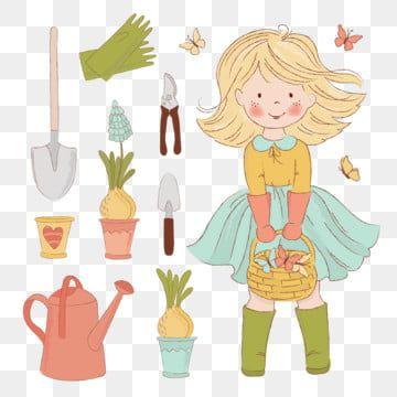 البستنة فتاة الربيع موسم الفرح الرعاية الملحقات الكرتون التوضيح النواقل مجموعة عطلة طباعة النسيج وزخرفة ربيع حديقة مزرعة Png والمتجهات للتحميل مجانا Holiday Cartoon Cartoons Vector Art