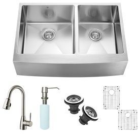 Vigo 33 In X 22 25 In Stainless Steel Double Basin Apron Front