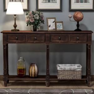 Harper Bright Designs Espresso Console Table With Drawers And Shelf Wf191266aap In 2020 Rustic Hallway Table Entryway Console Table Wood Console Table