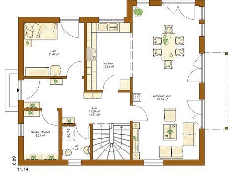 Grundriss Erdgeschoss DETMOLDER FACHWERKHAUS TYP 210 Haus planen
