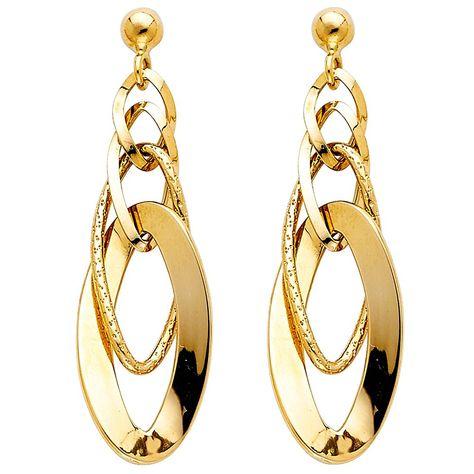 14K Yellow Gold Fancy Hollow Hoop Shepherds Hook Earrings Ioka