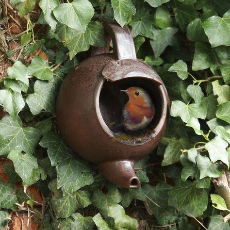 Theepot vogelhuisje voor roodborstjes kopen - nestkast in de vorm van een theepot of koffiekan.