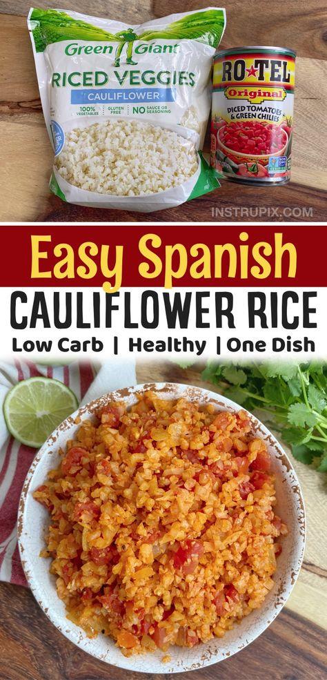 Easy Spanish Cauliflower Rice (Healthy & Low Carb Side Dish Recipe)