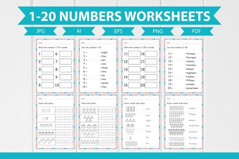 8 Numbers 1-20 English Worksheets A4 size (1015712) | Educational | Design Bundles