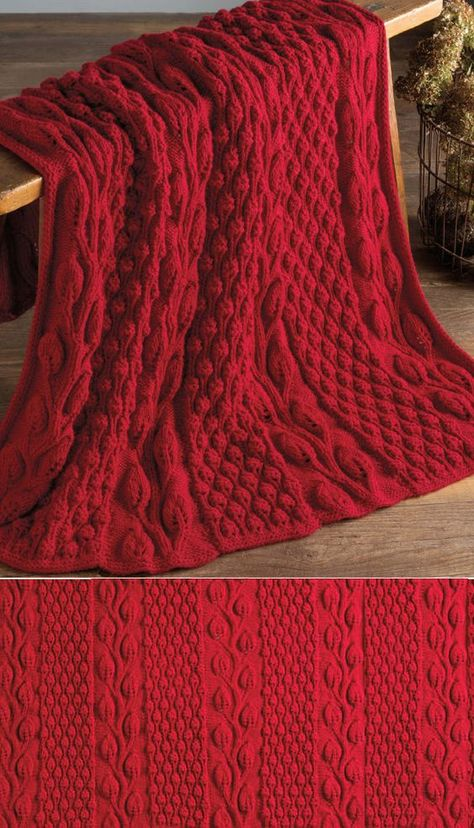 Free Knitting Pattern for Autumn Blaze Afghan - This throw knit in panels and seamed features leaf lace and berry stitch texture. Designed by Nazanin S. Fard. Worsted yarn.