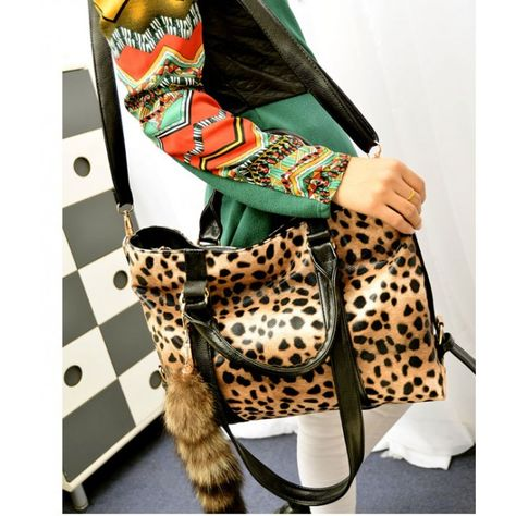 New Fashion Fox Tail Ornaments Leopard Printed Handbag&Shoulder Bag for only $29.99 ,cheap Fashion Handbags - Fashion Bags online shopping,New Fashion Fox Tail Ornaments Leopard Printed Handbag&Shoulder Bag