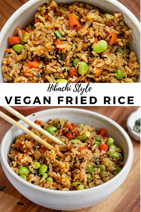 easy rice pilaf This truly is the BEST & EASY Vegan Fried Rice recipe out there. Making Hibachi style vegetarian fried rice filled with veggies & no eggs is easier than you think. Vegetarian Fried Rice, Tasty Vegetarian Recipes, Vegan Dinner Recipes, Vegan Recipes Easy, Veggie Recipes, Whole Food Recipes, Cooking Recipes, Healthy Fried Rice, Vegan Fried Rice Recipe Easy