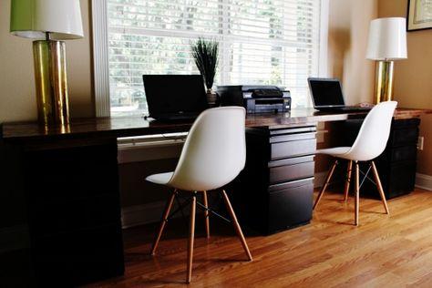DIY desk for two- Building a sleek desk is easier than you think! File  cabinet desk build your own desk home office desk   Furniture   Pinterest    File ...