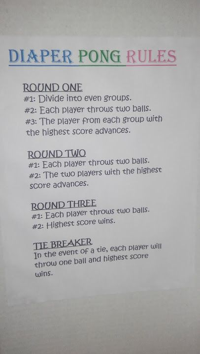 Diaper Pong Rules They Re Hard To Find Online So I Wanted To