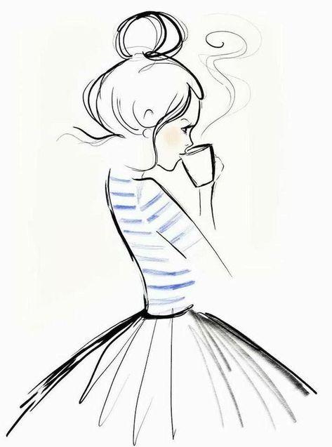 Leichte Zeichnungen zum Nachmalen, Mädchen mit gestreifter Bluse und weitem Rock trinkt heißen Kaffee...