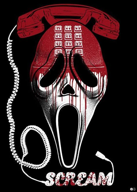 Alternative poster for the horror movie Scream (1996). Directed by Wes Craven. Cast: Neve Campbell, Courteney Cox, David Arquette, Drew Barrymore, Skeet Ulrich, Rose McGowan, and Matthew Lillard.