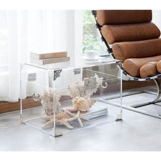 Clear Trunk Silver Plated Coffee Table Decor Furniture