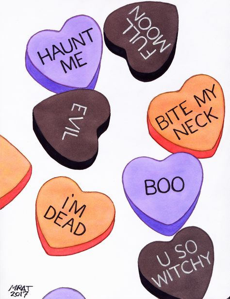"""littlechemistry: """"Conversation Hearts, ink, color pencil, and digital """" Halloween 2020, Holidays Halloween, Halloween Crafts, Happy Halloween, Halloween Decorations, Halloween Humor, Retro Halloween, Halloween Quotes, Halloween Pictures"""