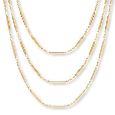 This Three Tiered Strand Necklace In 10 Karat Yellow Gold Features Alternating Round Tubes And Layered Necklaces Pandora Jewelry Necklace Yellow Gold