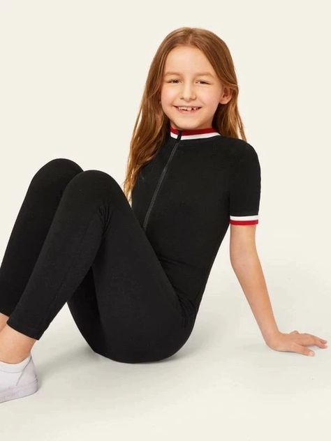Girls striped jumpsuit with front zip collar and cuffs