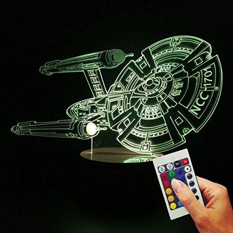 Star Trek Dekolampe Uss Enterprise 3d Hologramm Lampe