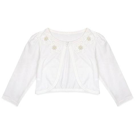 3dc3c0f7f89 Kids Girls Bolero Shrug Long Sleeve Cardigan Bridesmaid Flower Girl Jack  Cover up - Ivory -