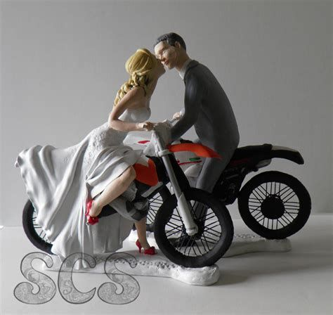 Wedding Cake Topper 2 Motorcycle Fun Bride /& Groom bike funny dirt bike racing