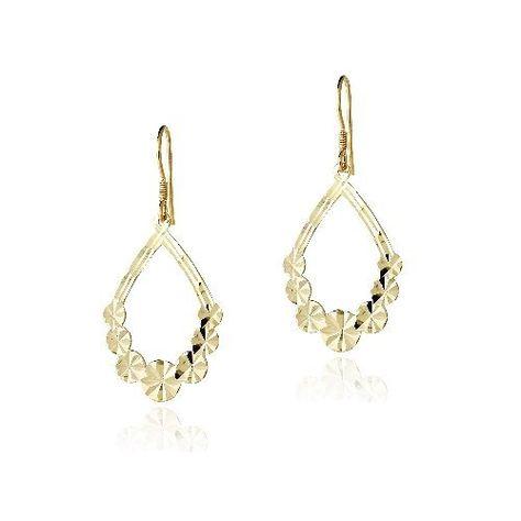 18K Gold over Sterling Silver Textured Flower Open Teardrop Dangle Earrings SilverSpeck.com. $17.99. Save 67% Off!
