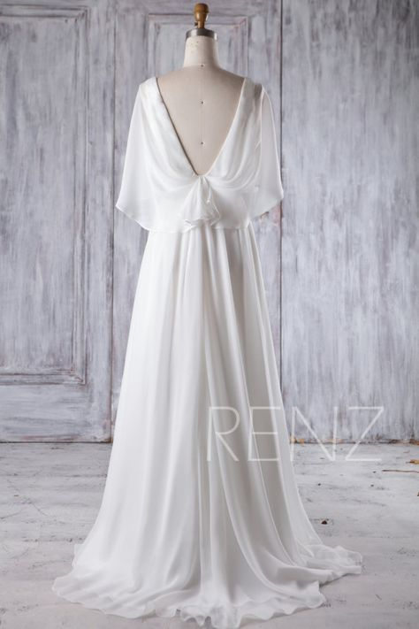 73506410327 2017 Off White Chiffon Bridesmaid Dress Deep V Neck by RenzRags