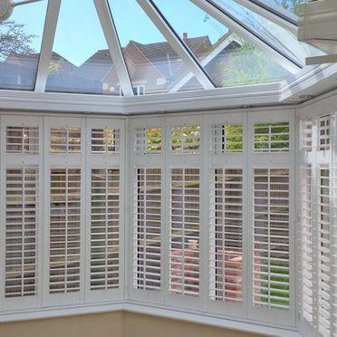 Conservatory White Shutters Bay Window Shutters Conservatory Roof Blinds Shutter Blinds
