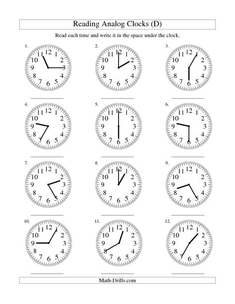 Reading Time On An Analog Clock In 5 Minute Intervals D Free