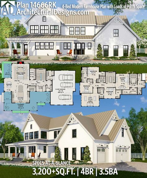 plan 14666rk modern farmhouse plan with loads of porch space rh pinterest com