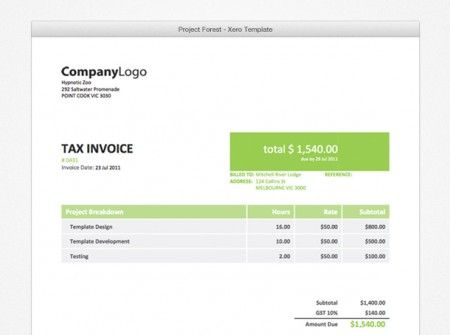 If you like a fresh look then the Project-forest Xero Invoice - free tax invoice