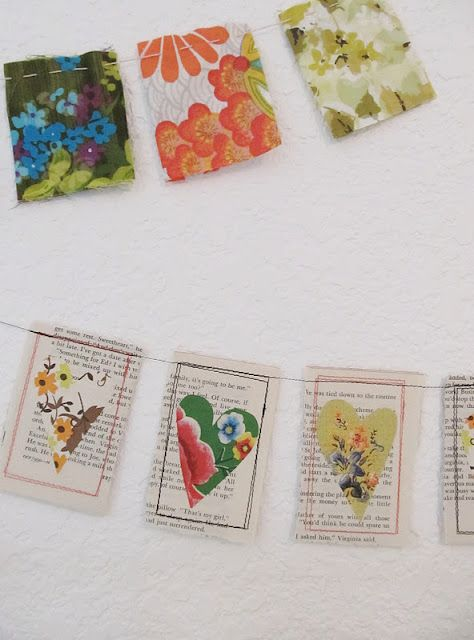 Prayer Flags Perhaps. dottie angel: a 'little string of happy hearts' Fabric Crafts, Sewing Crafts, Diy Crafts, Crafty Projects, Sewing Projects, Book Crafts, Arts And Crafts, Bunting Garland, Fabric Bunting