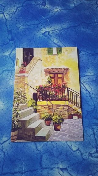 U Scoobyishere Offered This Lovely Postcard Of A Reproduction Of Stony Setting A Painting By Mouth Foot Painter Natalina Marcanton Cards Greeting Cards Art