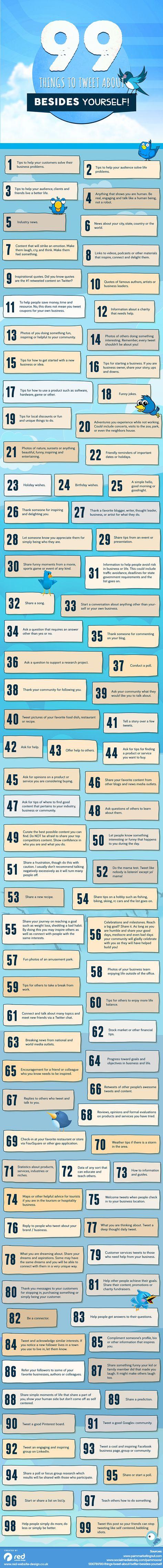 Comentamos una infografía que ofrece 99 ideas sobre contenidos para difundir en Twitter; algunas de ellas aplicables a la empresa