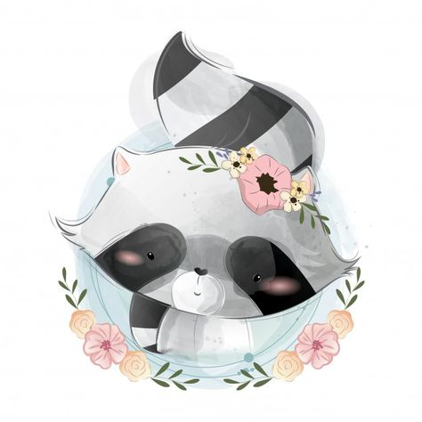 Cute raccoon portrait Premium Vector | Premium Vector #Freepik #vector #watercolor #baby #love #kids